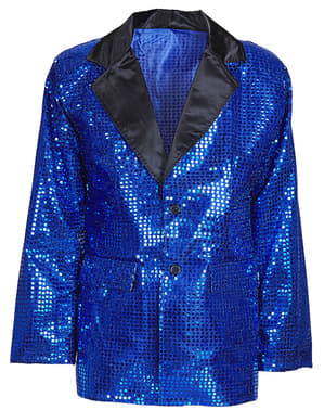 Man's Plus Size Blue Sequinned Jacket