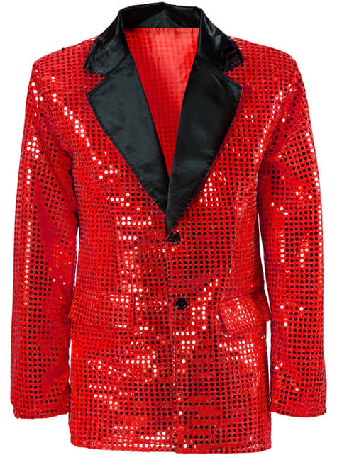 Man's Plus Size Red Sequinned Jacket
