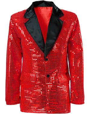 Pánské sako třpytivé červené nadměrná velikost