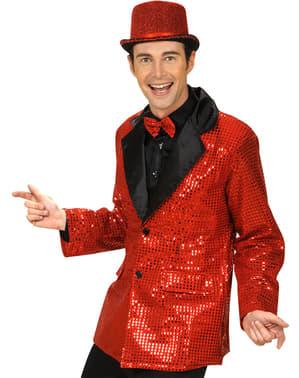Casaco vermelho com lantejoulas para homem tamanho grande