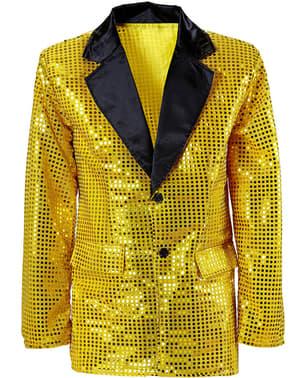 Guldfarvet plus size jakke med pailletter til mænd