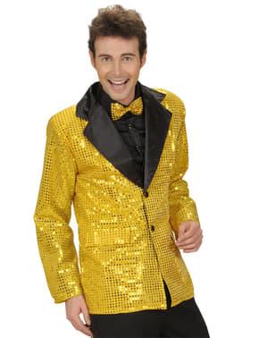 Gouden jasje met lovertjes voor mannen in grote maat