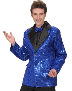 70er Pailletten Jacke für Herren blau