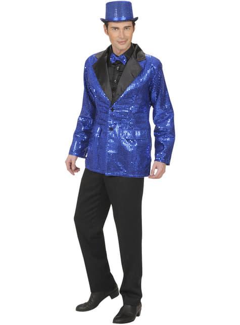 Blauwe jas met lovertjes voor mannen