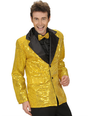 Chaqueta años 70 dorada de lentejuelas para hombre
