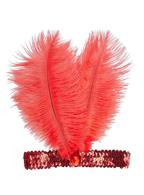 Cinta de pelo años 20 roja para mujer
