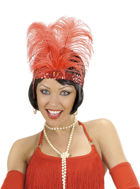 20er Jahre Haarband rot für Damen