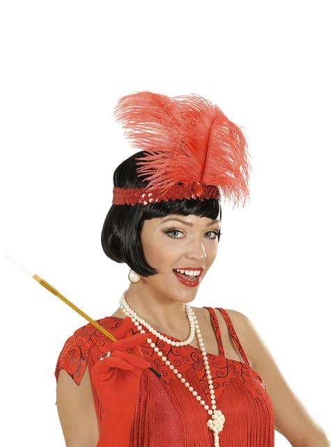 Cinta de pelo años 20 roja para mujer - original