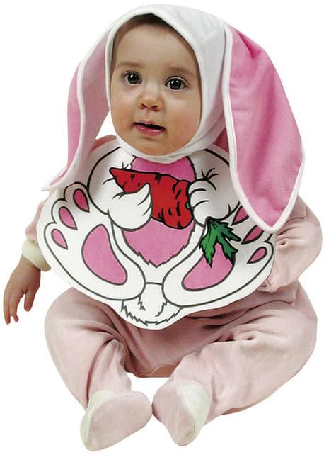 Babete e boné de coelhinho cor-de-rosa para bebé