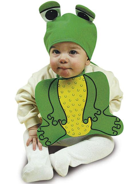 Bavoir et chapeau grenouille rose bébé