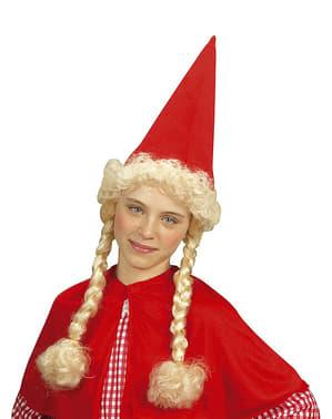 Chapéu de gnomo com tranças para menina