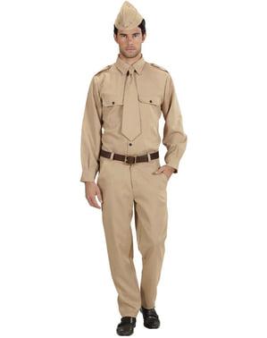 Soldat des Zweiten Weltkriegs Kostüm für Herren große Größe
