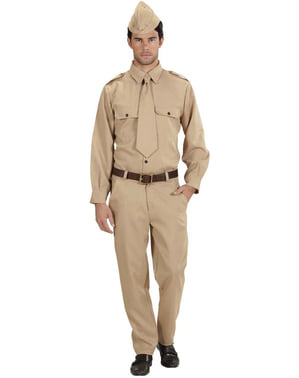 Soldat fra 2. verdenskrig plus size kostume til mænd