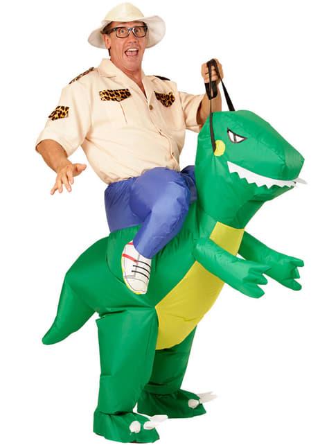 Opblaasbaar Draag me kostuum dinosaurus rijder voor volwassenen