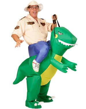 Disfraz hinchable de jinete de dinosaurio para adulto