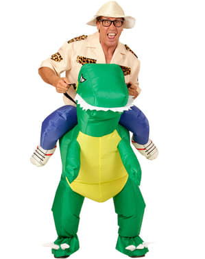 Inflatable Carry Me Dinosaur Rider Costume for Adults