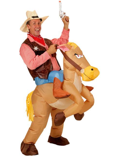 Disfraz de Cowboy con caballo hinchable para hombre
