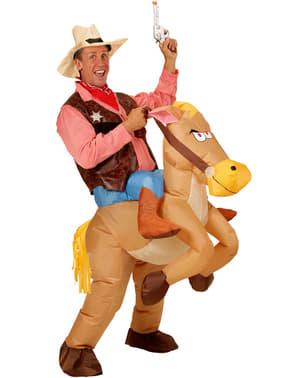 Maskeraddräkt Cowboy med häst uppblåsbar vuxen