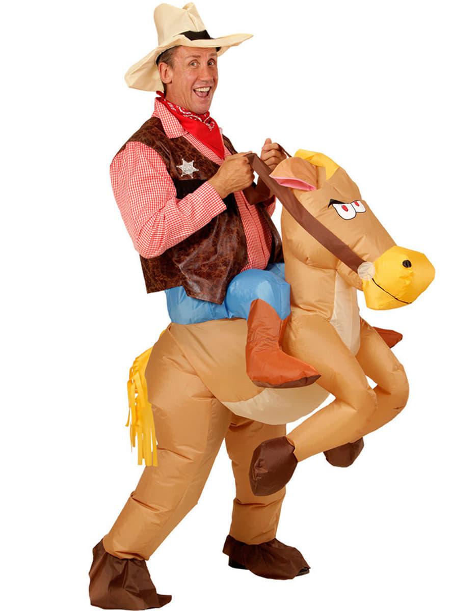cowboy kostuum met opblaasbaar paard voor volwassenen de coolste