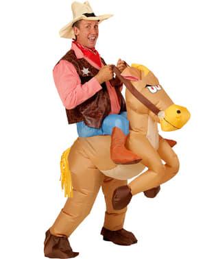 Cowboykostume med oppustelig hest til mænd