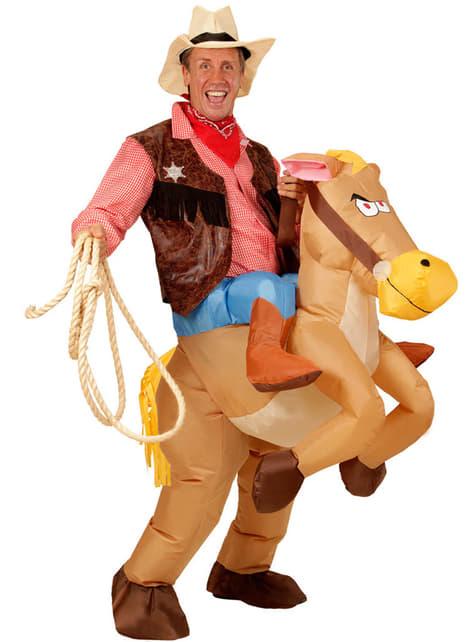 Disfraz de Cowboy con caballo hinchable para hombre - original