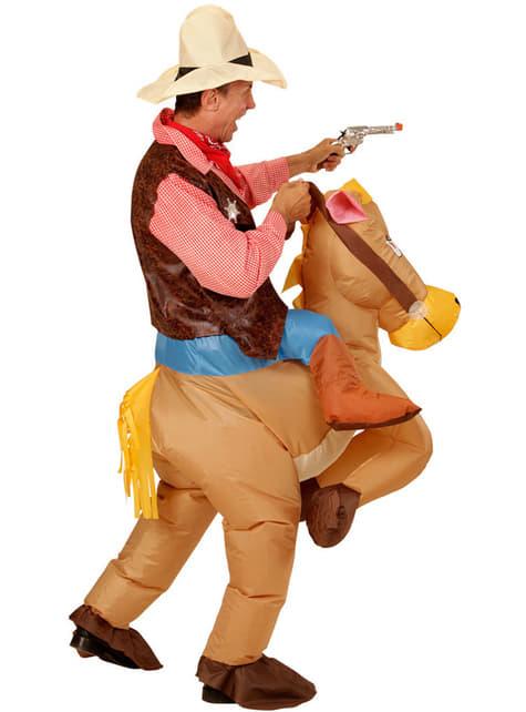 Disfraz de Cowboy con caballo hinchable para hombre - traje