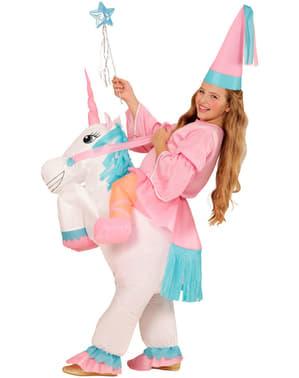 Opblaasbaar eenhoorn kostuum voor kinderen