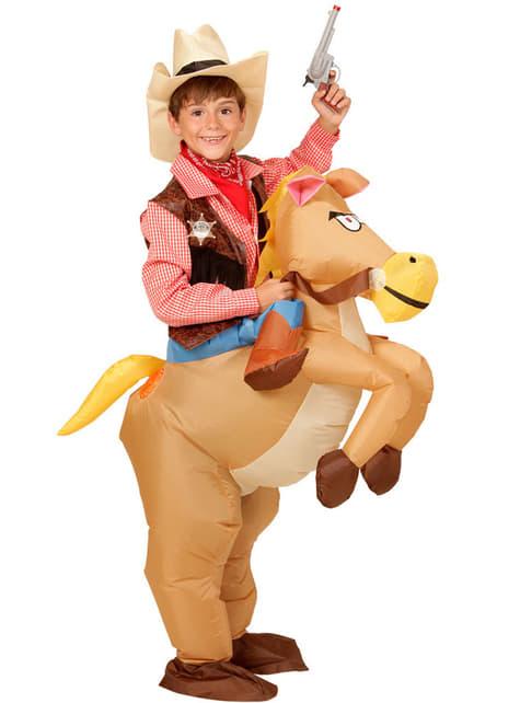 Disfraz de Cowboy con caballo hinchable para niño