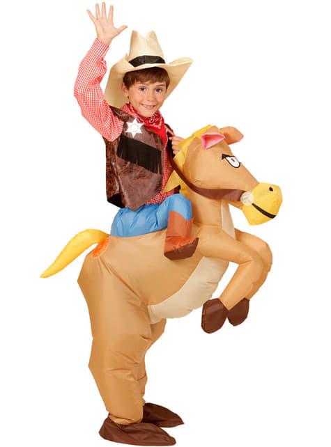 Disfraz de Cowboy con caballo hinchable para niño - infantil