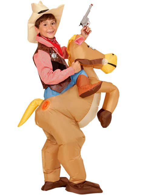 Disfraz de Cowboy con caballo hinchable para niño - original