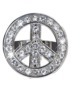 Inel simbolul păcii cu pietre pentru adult