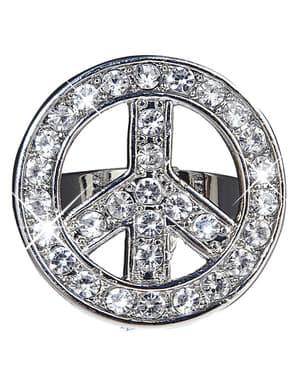 Prsten pro dospělé třpytivý symbol míru