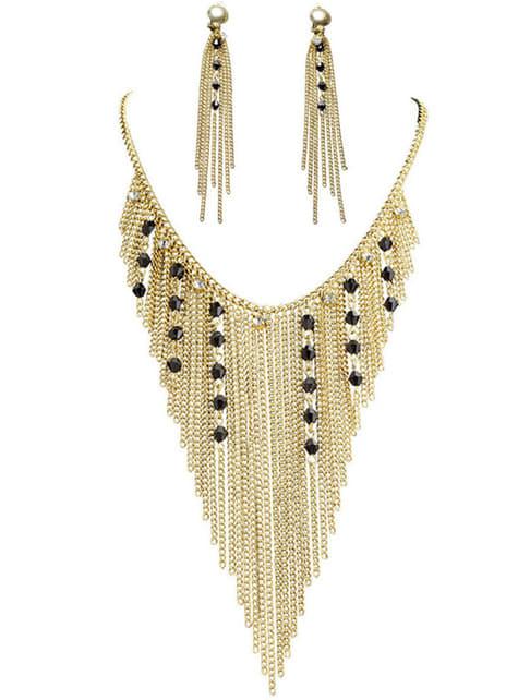 Pendientes y collar de diosa egipcia para mujer