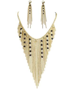 Ägyptische Göttin Ohrringe und Kette für Damen