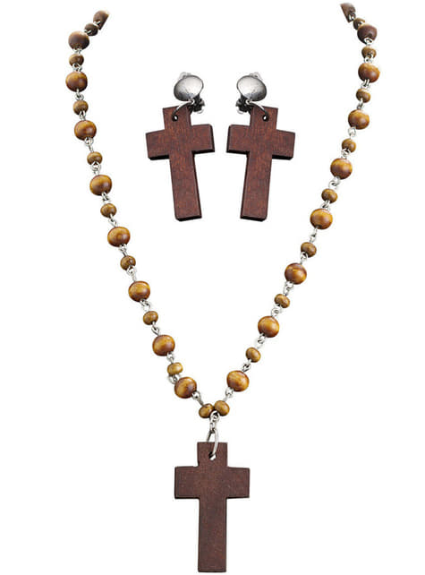 Adult's Religious Earrings and Rosary