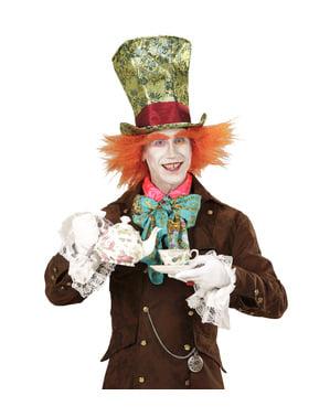 Chapéu de modista louco com peruca para adulto