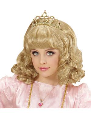Perücke mit Prinzessinnen Krone für Mädchen