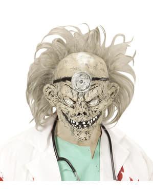 Máscara con pelo de doctor zombie para adulto