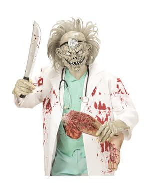 Máscara com cabelo de doutor zombie para adulto
