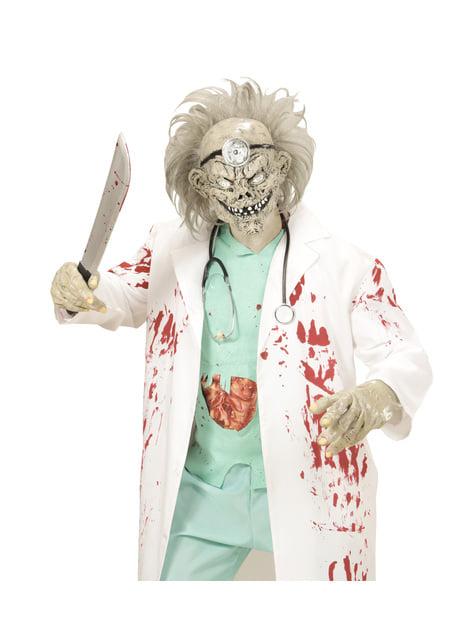 Máscara con pelo de doctor zombie para adulto - original