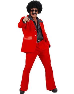 Fato disco vermelho para homem