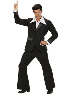 Costum disco negru pentru bărbat