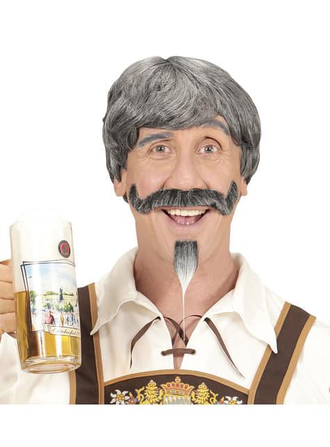 Peruca com bigode e pera grisalho para homem