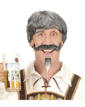 Peluca con bigote y perilla canoso para hombre