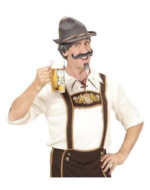 Perücke mit Schnurrbart und Kinnbart grauhaarig für Herren