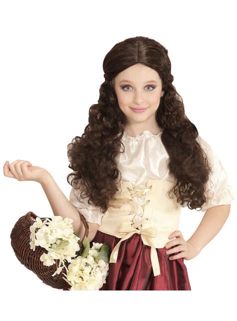 Peluca de tabernera castaña para niña - para tu disfraz