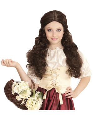 Tyttöjen ruskea tarjoilijatar peruukki