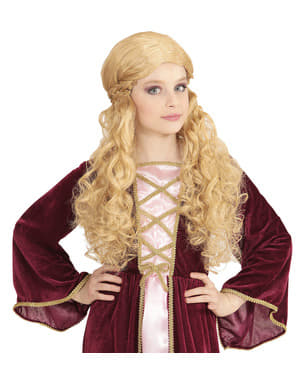 Peluca de princesa rubia para niña