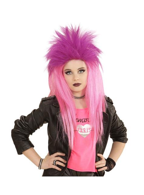 Peluca de punkarra rosa fluorescente para niña