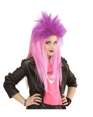 Peruca punky rosa fluorescente para menina